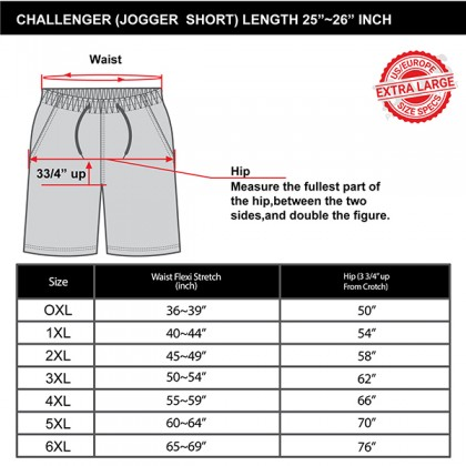 CHALLENGER CH5019 Men's Plus Size Shorts Fabric Microfiber With Lining