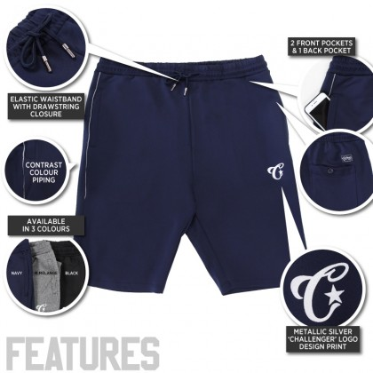 CHALLENGER CH5032 Men's Plus Size Shorts Microfiber Spandex With Piping