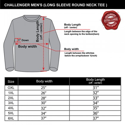 CHALLENGER CH7016 Men's Plus Size Sweater Embroidery Long Sleeve Jersey Round Neck