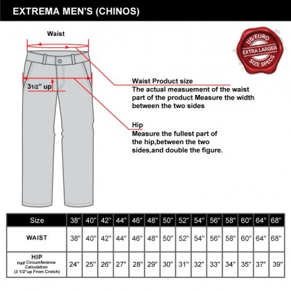 EXTREMA Big Size Men's Chinos Long Pant Stretchable Cotton Single-Pleated EX832 Expandable Waist Band
