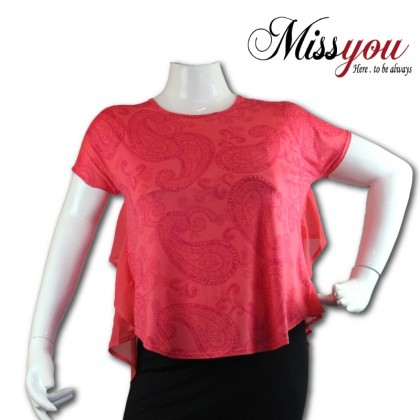 MISS YOU Plus Size Chiffon Layered Top Short Sleeve Round Neck MY100001