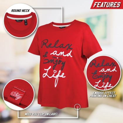 MISS YOU Plus Size Printed Cotton T-Shirt Round Neck Short Sleeve MY100013
