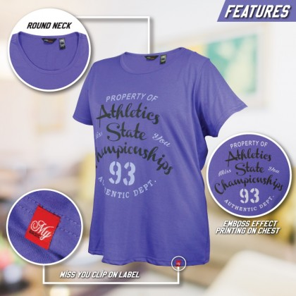 MISS YOU Plus Size Printed T-Shirt Round Neck Short Sleeve MY100014