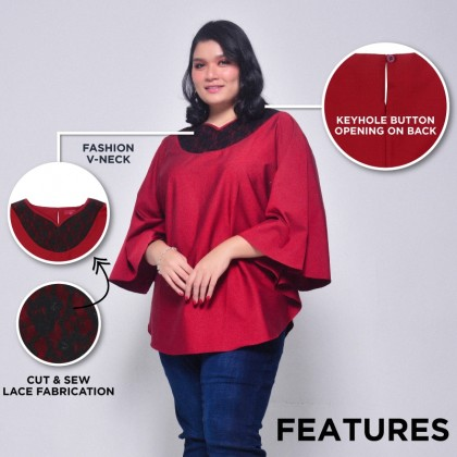 HERWAY Ladies Plus Size V-Neck Lace Butterfly Sleeve Blouse HW9033
