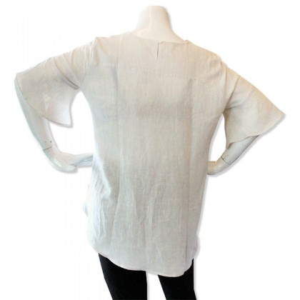 HERWAY Ladies Smart Casual Big Plus Size Boat Neck Mix and Match 3/4 Ruffle Sleeve HW9037