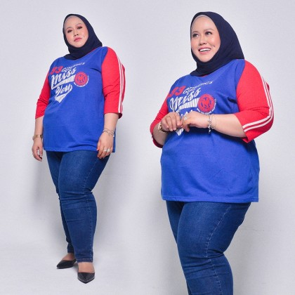 MISS YOU Plus Size Ladies Casual V-Neck Three Quarter Raglan Sleeves With Piping And Printing MY300015