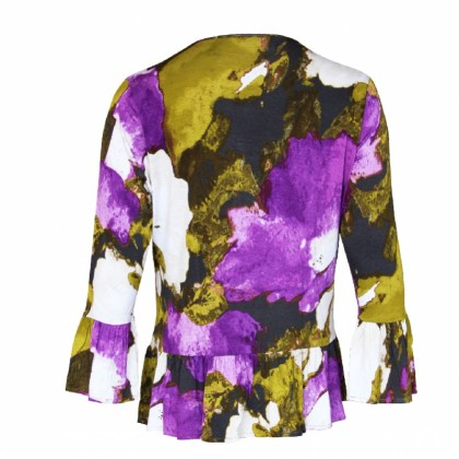 MISS YOU Women Plus Size Round Neck Long Sleeve Full Printed Fuffles Top MY300027