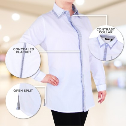 MISS YOU Plus Size Double Contrast Collar With Contrast Placket Blouse MY900003