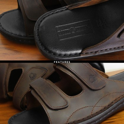 ROYAL EXTREMA Men's Leather Slide Sandal RESD0001 Extra Wide