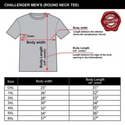 CHALLENGER Men's Big Size Ezdry Round Neck Short Sleeve Tee CHS1024(Special Edition)