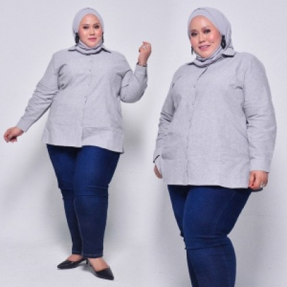 HERWAY Plus Size Cotton Linen Casual Long Sleeve Shirt HWS9021(Special Edition)