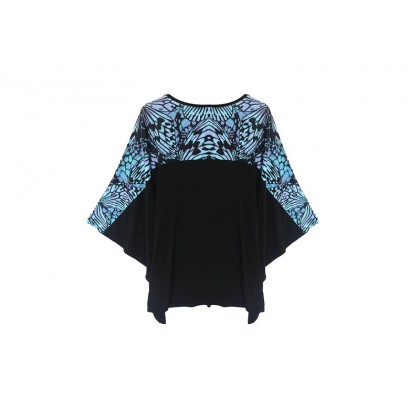 MISS YOU Plus Size Women's Cut And Sew Butterfly Sleeve Round Neck Top MY100002